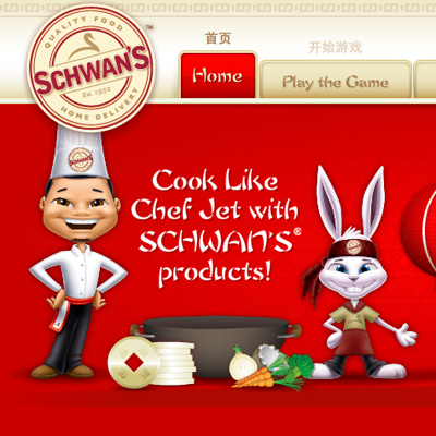 illustration of Celebrating Schwan's Chinese new year, these characters were created for Chef Jet Products in th eyear of the Rabbit and Schwan's new online game.