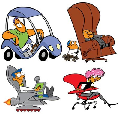 illustration of Characters for an internet racing game that takes place in an office setting.