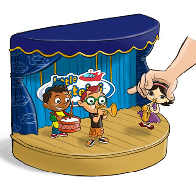 illustration of Concept sketch for proposed educational toy. Characters play music when they come in contact with a magnet under the stage.