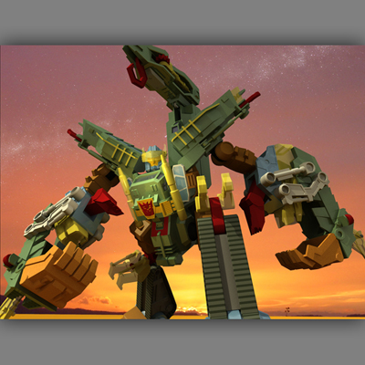 illustration of Scorponik, transformer character 3d illustraion and animation.