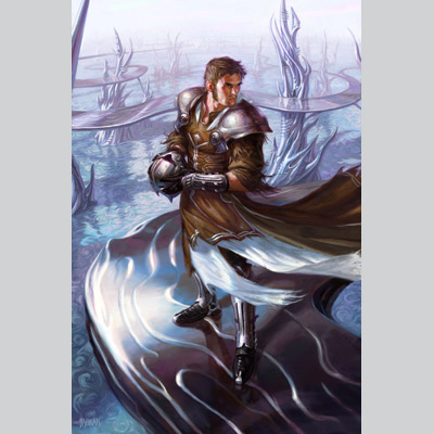 illustration of This illustration depicts the Planeswalker Venser from Magic: the Gathering's release