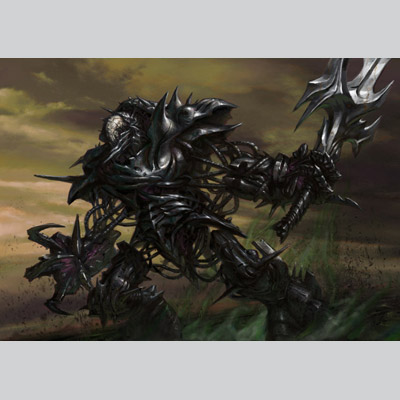 illustration of Phrexian Crusader is a card illustration for Magic the Gathering's