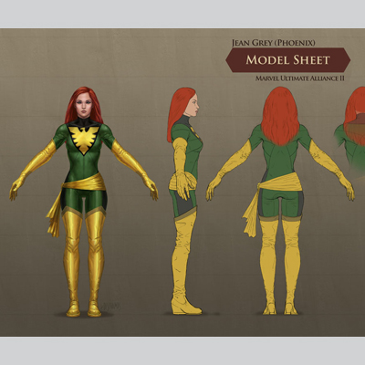 illustration of Jean Grey concept art for the Marvel Ultimate Alliance II video game.