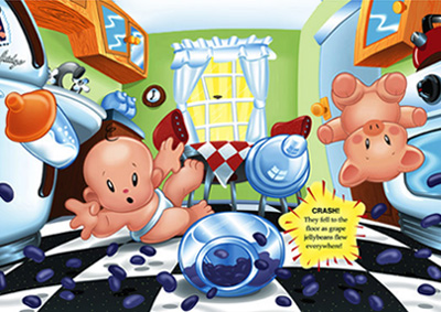 illustration of Two page spread from children's picture book