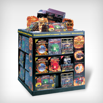 illustration of Point-of-purchase display for Westwood Studios' Command & Conquer Hummer Givaway promotion