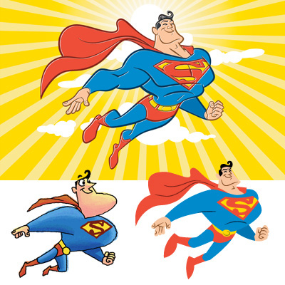 illustration of Three different stylistic explorations of how Superman could be presented for greeting card product.