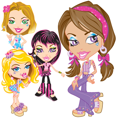 illustration of Glam Girlie Stuff character illustrations for products and packaging