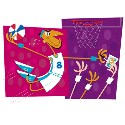 illustration of basketball, sports, autograph, player, NBA, dunk, stuff, athlete, fans, jump, greeting card
