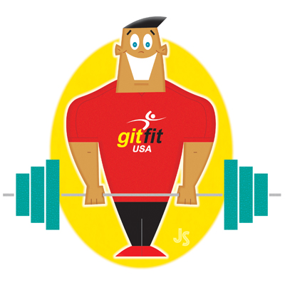 illustration of character spokesman for GitFit USA, athlete, weights, trainer, exercise, african american, weightlifter, muscles, gym, greeting card
