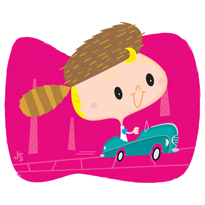 illustration of car, toy, kid, metal, pedal, child, boy, retro, digital, play, greeting card