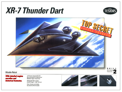 illustration of  Testors needed an Illustration to be done as a companion piece to the SR-71 Penetrator kit, the XR-7 Thunder Dart. The leading edges of the delta shaped wings had to be able to withstand very high atmosphere friction heat, hence the glowing edges.