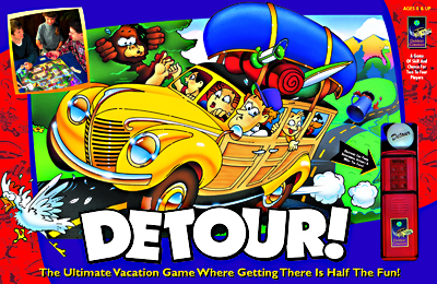 illustration of This game for the DaMert company, called 'Detour!' is an old fashioned fun  family table game.