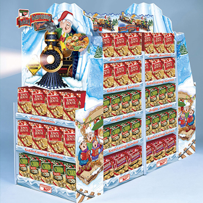 illustration of Keebler Holiday point of purchase display illustrations.
