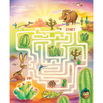 illustration of A maze through the desert that I created and illustrated for National Wildlife Federation children's magazine. Javelina must weave his way past cactus, tarantula spider, jack rabbit, hummingbird, owl, and gila monster to find the prickly pear.