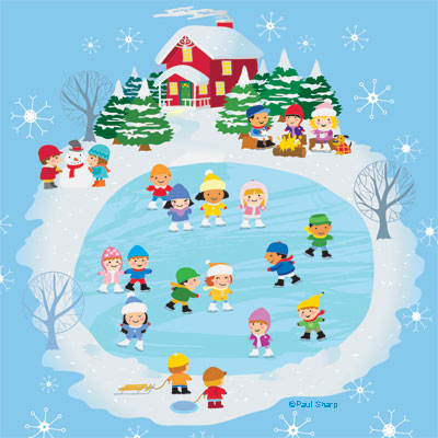 illustration of A winter holiday ice skating party where children skate while others build a snowman or sit by the fire and warm up with hot chocolate. A path leads to a cozy red victorian house.