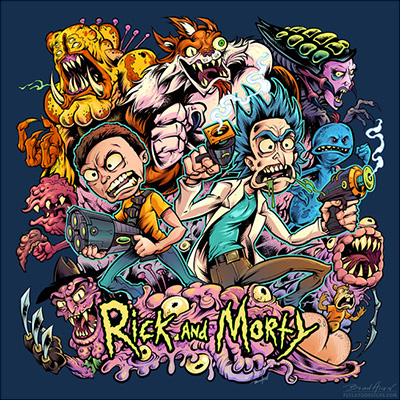 illustration of This was created for an official Rick and Morty design contest, and the design won third place!  The shirt will be available for sale in the official Rick and Morty outlets.  I'm super-thrilled to have my artwork hand-picked by the creators of one of my favorite shows.  In addition to the prize money, I'll also be getting a sweet Rick and Morty comic book autographed by the creators!