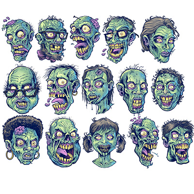illustration of Illustrated zombie heads I created for a repeatable tile pattern for photoshop.  