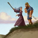 illustration of Deborah and Barak overlooking the army.ancient,judge,soldier,warrior,