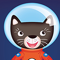illustration of Character created for Ladybird to be used across a range of phonics products, including apps and books. Cat, astronaut, vector, adobe illustrator, space, children's character