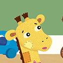 illustration of Toys, character design, giraffe, teddy bear