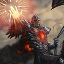illustration of Hero of Oxid Ridge is a card illustration for Magic the Gathering's