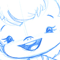illustration of An example of one of my pencil roughs for a character illustration of a preschool dressing doll.