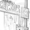 "illustration of ""Marvel Legends"" structure and package design system for Hasbro, Inc."