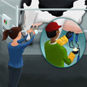 illustration of Panel for a large poster for the Oregon Dairy Council illustrating the process of 'Cow to Table'.