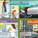 illustration of Complete poster with all the illustrated panels telling the story of how milk goes from 'Cow to Table.'