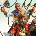 illustration of Pirate collection. 3D character sculpts set in a diaorama.
