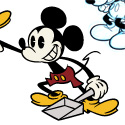illustration of Vector Mickeys in the new animated style, sketched Mickeys in the traditional style