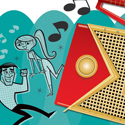 illustration of radio, retro, swingers, dancers, dancing, teens, teenagers, music, songs, speakers, digital, sock hop, greeting card