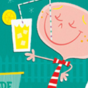 illustration of lemonade, stand, children, boy, girl, childhood, drink, beverage, fun, kids, cute, retro, digital, greeting card