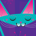 illustration of promo piece for steckfigures, inc. cat, kitten, kitty, style, fashion, pet, feline, greeting card