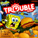 illustration of SpongeBob in the classic Hasbro board game Trouble!