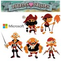 illustration of Pirates Love Daisies is an HTML 5 game created for Microsoft. Pulp Studios Inc. provided art direction, assistance in concept development, UI design and all artwork including in game animation. These are the pirates from the game.