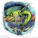 animation of Stylized angry mutant Mahi-Mahi fish I created for an apparel graphics company leaping from the water.