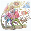 illustration of weather, wind, gail, family, cold, humour, dog, floating, leaves, fall, autumn, bad weather,