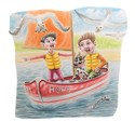 illustration of father, dad, boy, boat, sailing, sea, seaside, gulls, sand, beach, wind, motion, children's illustration,