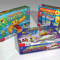 illustration of 3 different Hasbro Games featuring my illustrations.